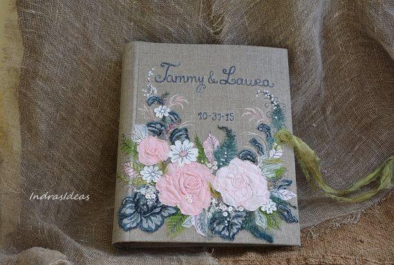 Personalized Photo album Wedding  album Shabby Chic by Indrasideas