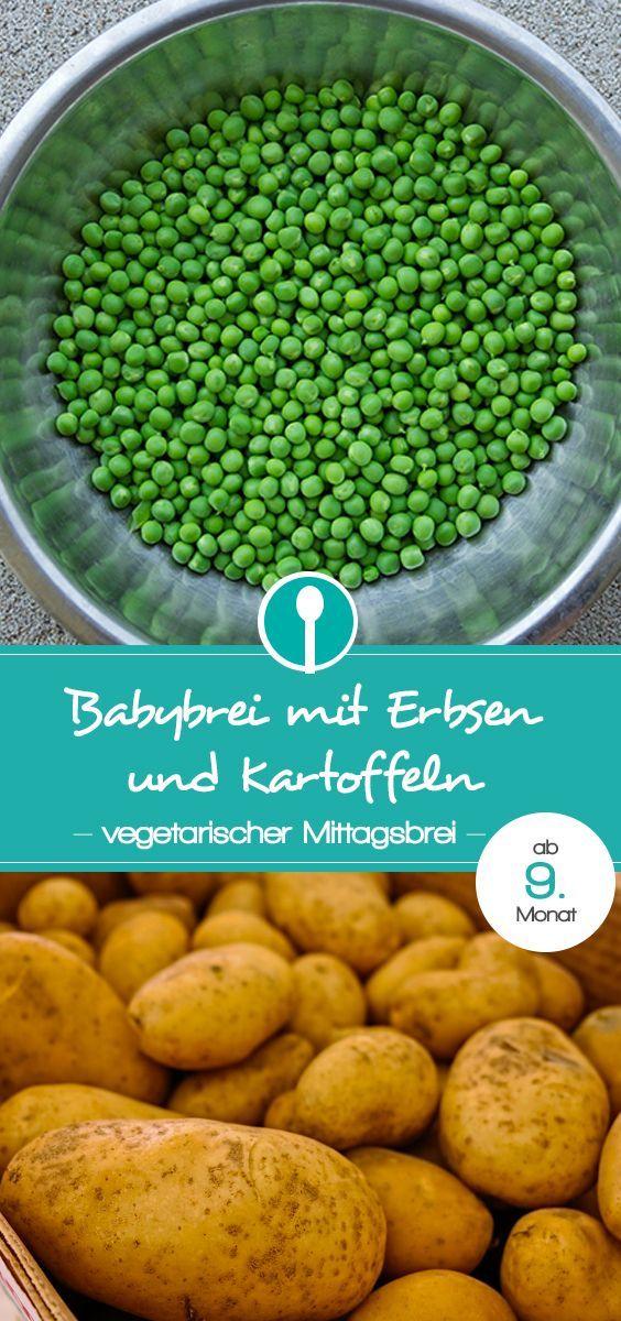 Babybrei Rezept mit Erbsen und Kartoffeln. Vegetarischer Mittagsbrei für Babys ab dem 9. Monat