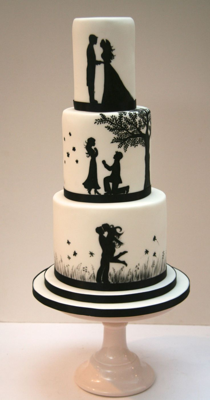 Romantic Silhouette Wedding Cake London - Etoile Bakery etoilebakery.co.uk