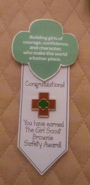 Girl Scout Brownie Safety Award Pin Presentation.