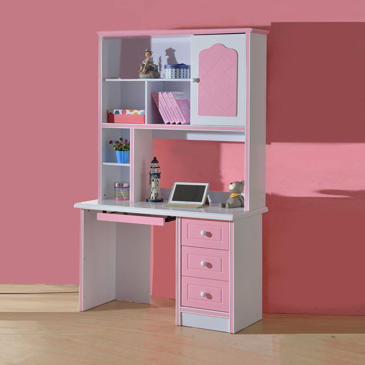 Большой компьютерный стол в комнату ребенка розового цвета с большими книжными полками купить для девочки в интернет-магазине https://lafred.ru/catalog/catalog/detail/42007436392/