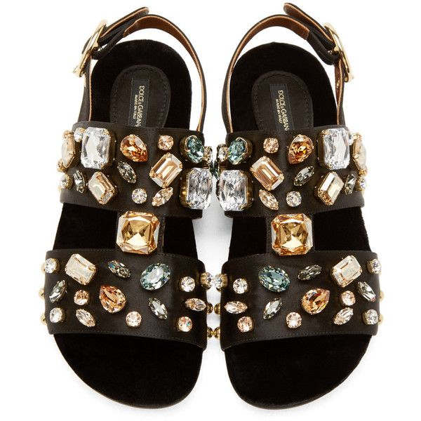233d3c016 Dolce And Gabbana Black Satin Jewelled Flat Sandals (4