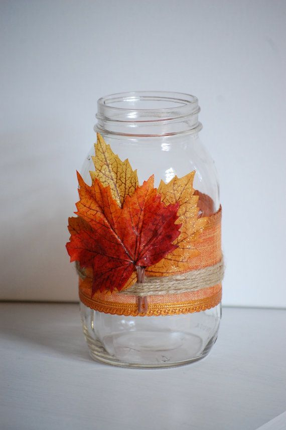 Quart sized mason jar with pretty burnt orange ribbon