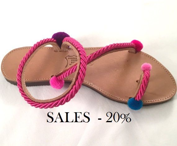 """Leather Sandals """"Beatrice"""" (Handmade to order) unique / pom pom / gift for her / pink color / teen / strappy / flat / summer sandals by BlissDesigners on Etsy"""