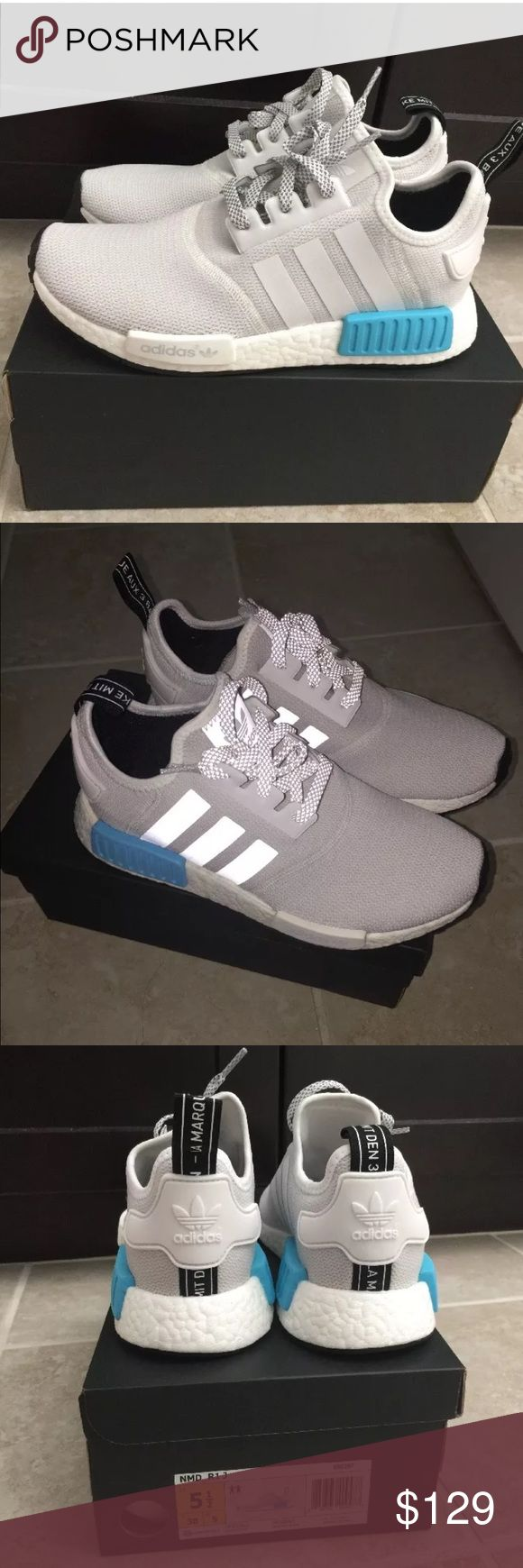Adidas NMD R1 White Blue  GS 5.5 Wmns 7 Brand New In Box 100% Authentic Guaranteed! Adidas NMD R1 Nomad Runner Boost  Running White Grey / Bright Cayan Blue  S31511  GS 5.5 / Wmns size 7 Adidas Shoes Sneakers