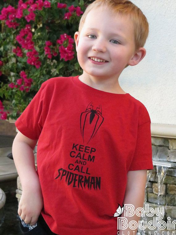 SPIDERMAN KID'S SHIRT Keep Calm and Call Spiderman. Red Ringspun Cotton for Toddlers for Boys & Girls