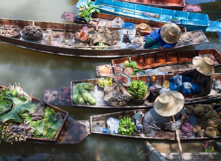 Damnoen Saduak Floating Market Damnoen Saduak, Thailand Boat public space City market dish human settlement food items different waste meal flower various several variety