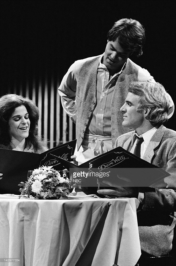 Gilda Radner, Dan Aykroyd as Richie Roberts, Steve Martin during the 'Restaurant' skit on November 4, 1978 - Photo by: