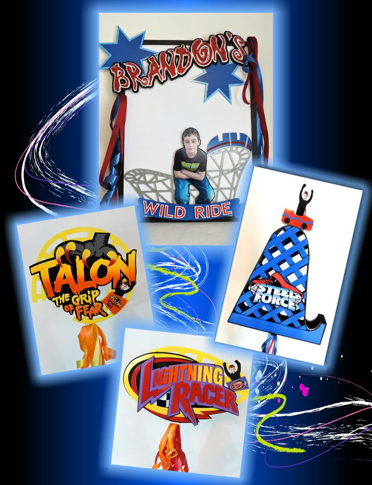 Roller coaster centerpieces and a Sign In Board for that Bar/Bat Mitzvah or birthday party with an amusement park theme. www.marlyssandstacey.com #party #decorations