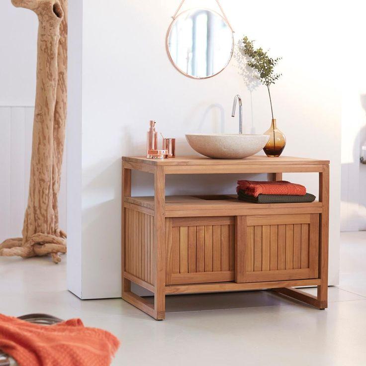 Meuble Salle de bain en teck 90 Colonial Tikamoon prix promo Meuble Salle de bain 3 Suisses 579.00 €
