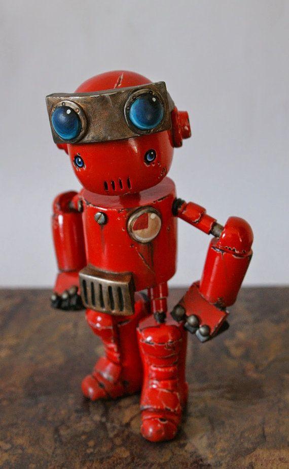 Cómprate a un súbdito robótico verdaderamente único!  Estos pequeños compañeros de pie entre 4 y 5 pulgadas de alto son el regalo perfecto para los científicos locos, genios malvados o frikis con estilo!  Se diseño, esculpir y pintar un súbdito robótico para usted desde el concepto inicial de la etapa a través de todo el camino a la pieza final.  Ya sea Steampunk, Post apocalíptico, retro o cualquier otra cosa que puedas imaginarlo que hará!  Cada robot que hacer es individual y único, no…