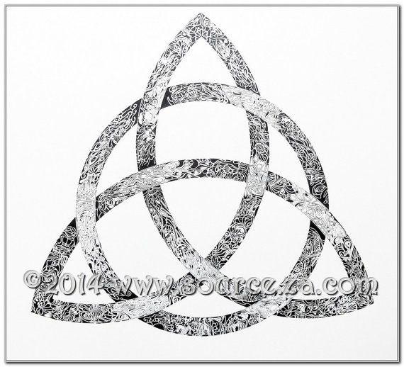 TRINITY - Original Artwork, pen and ink drawing, black/white, one of original, 25x 25Inch/64x 64cm