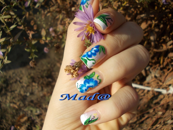Nail Art: One stroke deep blue flowers ~ Life, passion and beauty