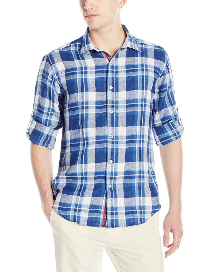Bugatchi Men's Domani Long-Sleeve Shaped Button Down Shirt in navy