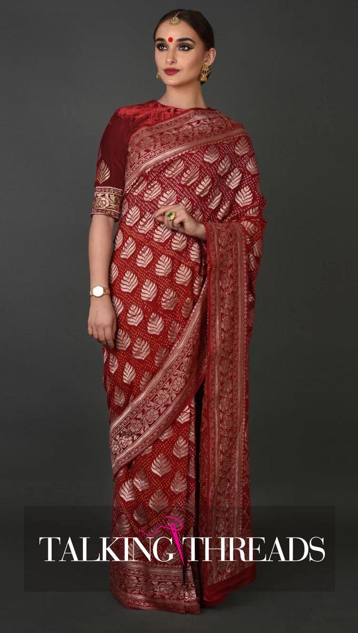 Red Banarasi Zari Bandhej Pure Georgette Saree