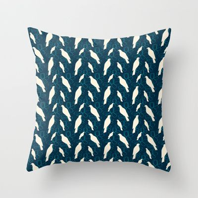Kereru and magnolia - navy  throw pillow from $20.00