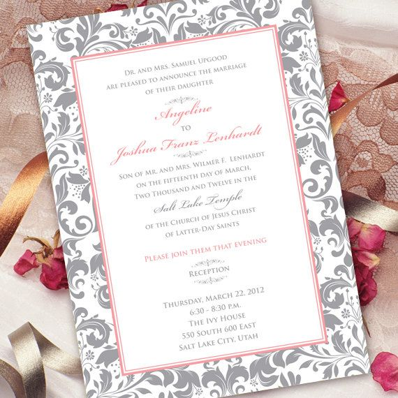 Wedding Invitation Bridal Shower Damask Gray And Pink Silver