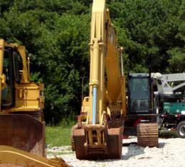 Heavy equipment rental..an excavator at our Houston yard!