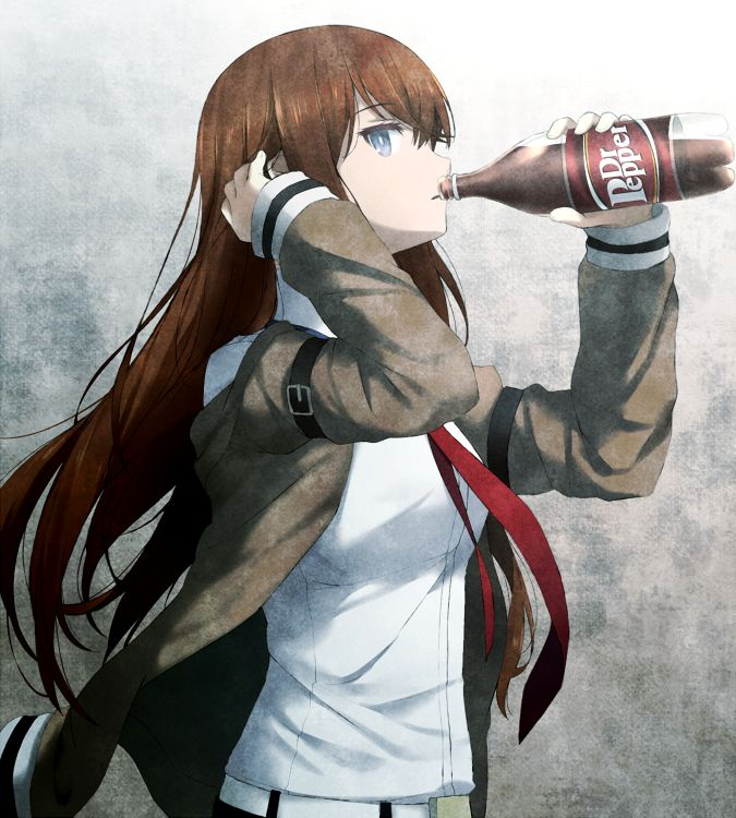 Belt Blue Eyes Bottle Brown Hair Jacket Dr Pepper Drink Drinking From Side Gradient Background Grey Haribote Tarao Long