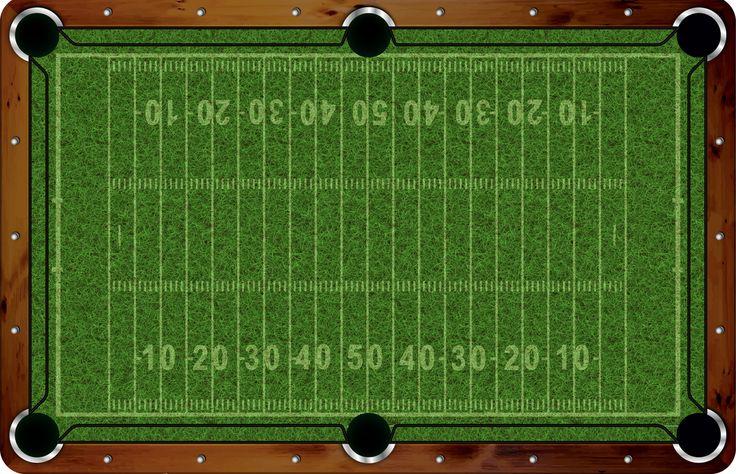 Pool Felt Guru - Vivid Football Field 7'/8' Custom Pool Table Felt - VVCF06, $500.00 (http://www.poolfeltguru.com/vivid-football-field-7-8-pool-table-felt-vvcf06/)