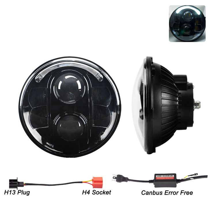 """Liteway 7"""" 80W Round CREE LED Headlights Hi/Lo Beam Projection White Halo Ring Angel Eye DRL for Jeep Wrangler JK TJ LJ CJ Rubicon Sahara Unlimited Hummer H1 H2 Land Rover Defender, 2 Years Warranty"""