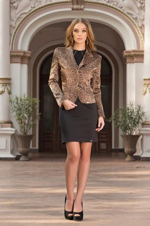 Modern, chic jacket has a soft and lustrous texture with animal print that's full of surprises – ideal for adding a touch of class to a casual outfit or to top off a more formal look. With its modern shape and comfort seams for a slim, seductive fit, it'll be the first item you reach for on numerous occasions. A real must for the season, this chic jacket will be the most versatile item in your wardrobe-by Vero Milano!