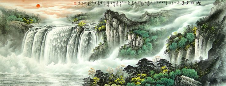 Water Falling Wallpaper Desktop Chinese Waterfalls Chinese Waterfall Painting China