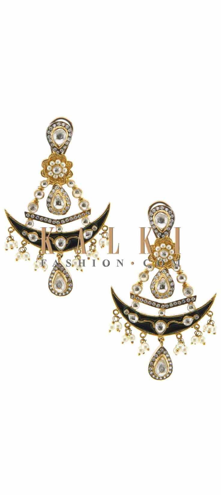 Buy Online from the link below. We ship worldwide (Free Shipping over US$100) Price-$59 Click Anywhere to Tag http://www.kalkifashion.com/navy-blue-earring-embellished-in-dangler-only-on-kalki.html