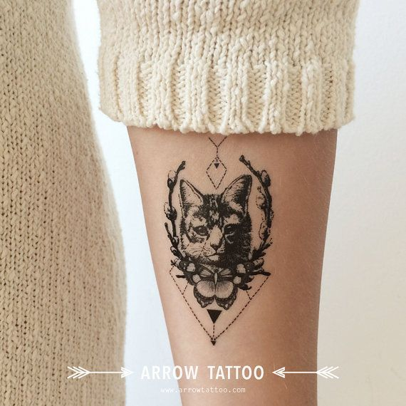 4th of July SALE Tribal Cat tattoo Pattern Tattoo Temporary Tattoo wrist ankle…