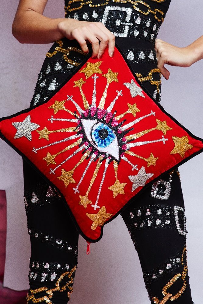 Image of 'SERENDIPITY' EVIL EYE VELVET CUSHION
