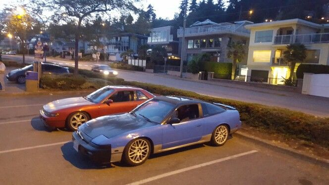 Brett's old Sr powered 240 beside my ka powered 240  #nissan #240sx #silvia #s13silvia #s13 #ps13 #sil40 #silforty #schassis #jdm #carbonfiber #carbonfibre