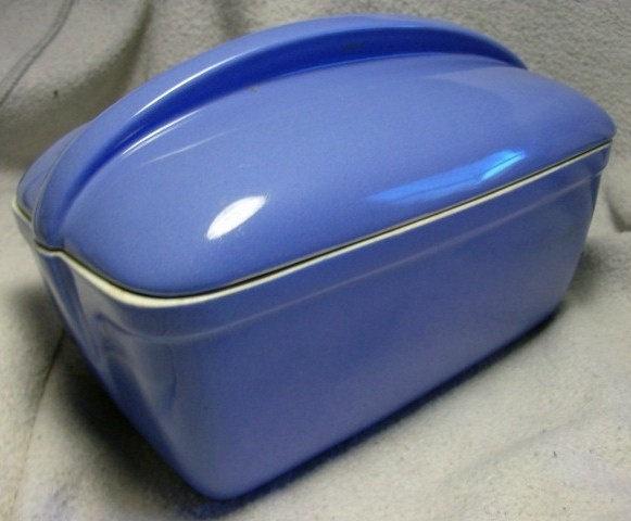Mid Century Retro Vintage Art Deco Kitchenware BLUE HALL WESTINGHOUSE Refrigerator Dish in a Nice Blue