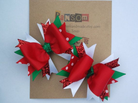 Baby Christmas Bows Holiday Hair Clips for by ransomletterhandmade, $10.00