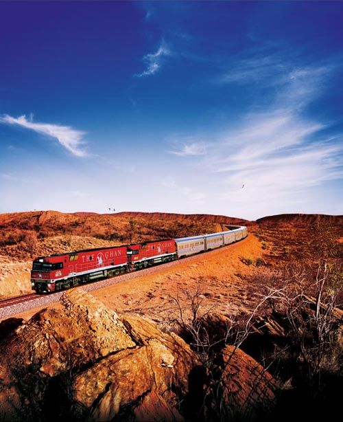 The Ghan, one of the world's greatest train journeys, travels from Adelaide to Darwin via Alice Springs through the Red Centre of Australia. I'm dying to do this trip; I'm a huge train nerd, and this is one of the best rail experiences on the planet. #australia #adventure #trains
