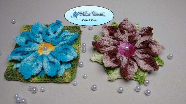Flor de Crochê Para Aplicação em Tapetes e Diversos Trabalhos #01