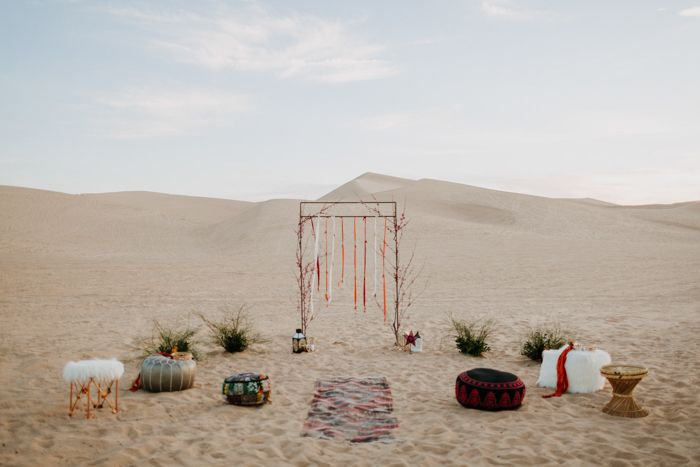 This Algondones Dunes wedding has major bohemian and dessert vibes. Let's Frolic Together photographed the magic, which includes alternative bouquets.