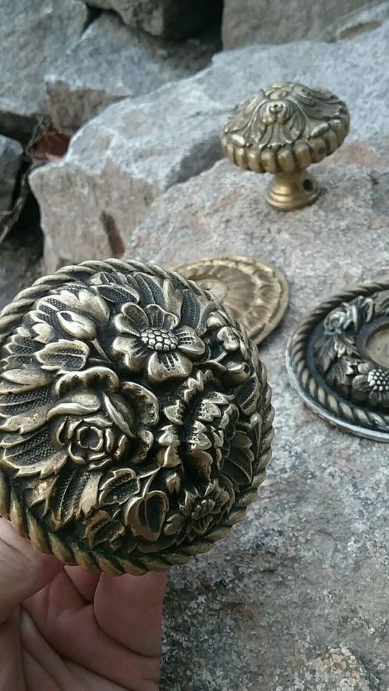 Antique  gorgeous  Floral antique  brass door knobs Victorian rosettes #Antique #Hardware