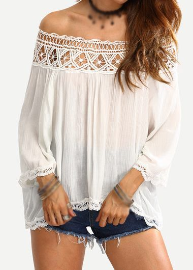 Boho White Off the Shoulder Crochet Trim Top. The Boho Top features off the shoulder design, crochet lace trim and loose fitting. We love it with a high waisted suede mini skirt and a crossbody, or skinnies and platforms.