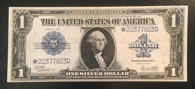Fr 238 1923 1 Star Note Silver Certificate Horseblanket High