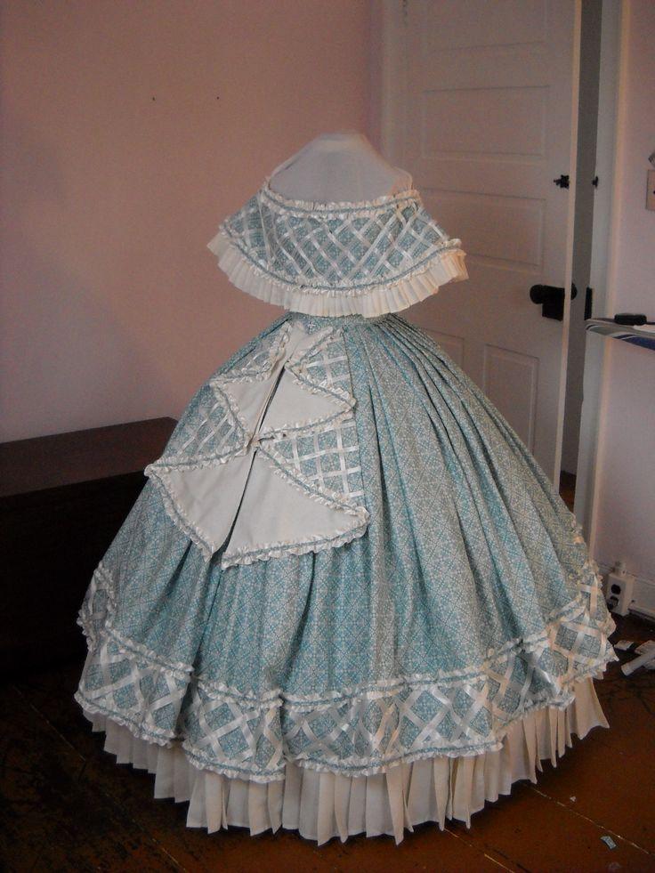 custom authentic Civil War era, Victorian, 1860's, 19th century day dress and…