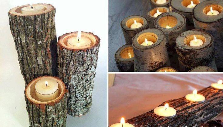 Porta candele a forma di tronco oggetti design