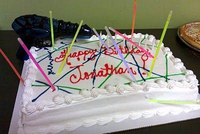 Easy laser tag birthday cake