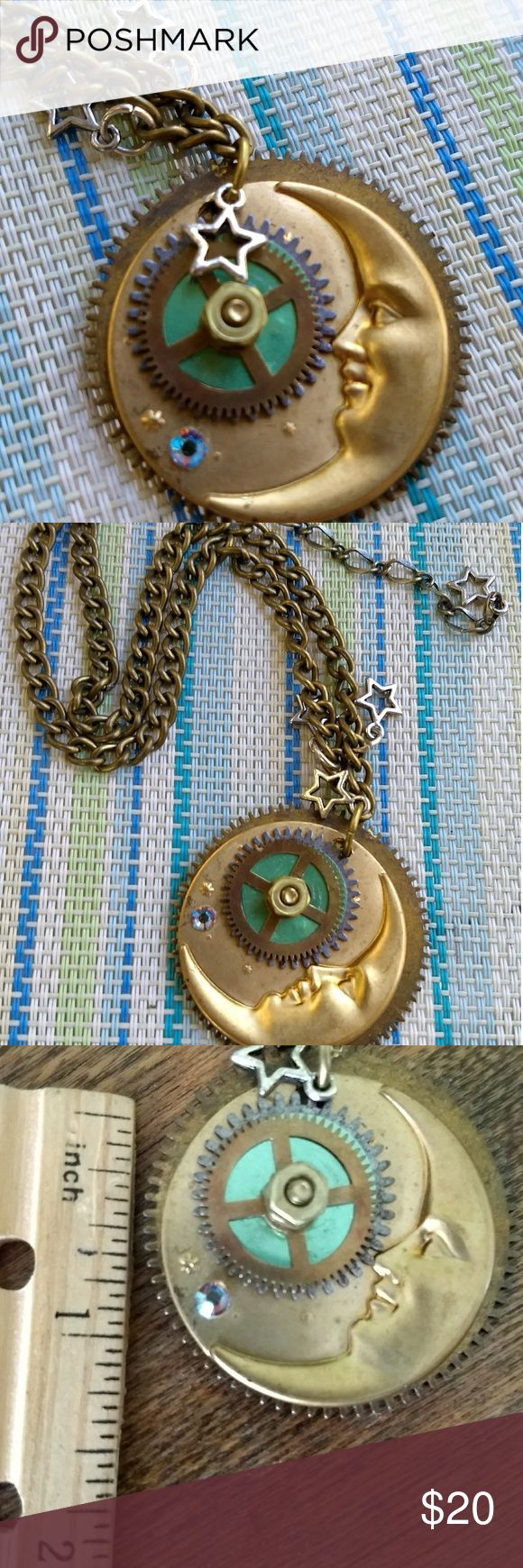 "Beautiful Steampunk Upcycled Moon  Necklace This is a OOAK handmade Steampunk necklace from my jewelry making/ selling days (No time for it now☹️). It was made from vintage clock and watch parts. Very nice heavy chain. It's about 19"" long including extender. Jewelry Necklaces"