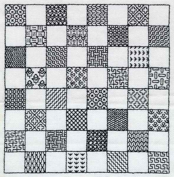 A chessboard in Holbein stitch. The stitch is named after Hans Holbein the Younger (1497-1543), a 16th-century portrait painter best known for his paintings of Henry VIII and his children, almost all of whom are depicted wearing clothing decorated with blackwork embroidery.