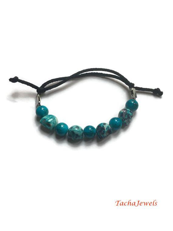 Bracelet Turquoise Tête de Mort Noeud Coulissant : Bracelet par tachajewels
