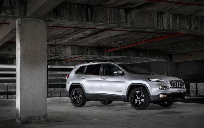 Télécharger fonds d'écran Jeep Cherokee Blackhawk, Vus Américains, de l'argent Cherokee, roues noires, Jeep