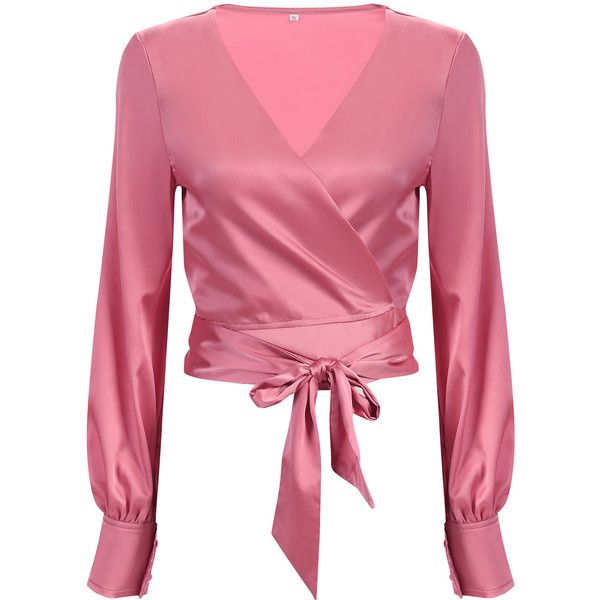 Yoins V-neck Wrap Front Top with Long Sleeves ($14) ❤ liked on Polyvore featuring tops, pink, wrap front top, long sleeve tops, pink top, v neck tops and v-neck tops