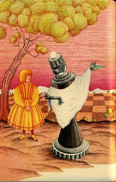 - А это кто такие? - спросила Королева, подбородком указав на трех  садовников, которые все так и валялись под кустом. Ведь, как вы помните, они лежали лицевой стороной вниз, а рисунок рубашки был у них один и тот же - как и у всей колоды,- и, значит. Королева не могла сейчас их отличить ни от придворных Тузов, ни даже от своих собственных детей - Принцев и Принцесс.  Художник - Мария Бублева.