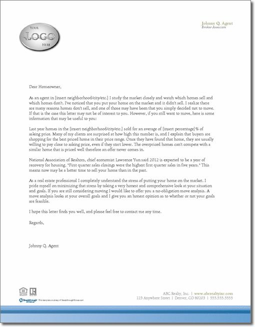 real estate letter templates