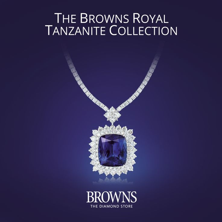 The Browns Royal Tanzanite Collection.  Tanzanite is a thousand times more rare than a diamond. It is this very rarity and uniqueness that inspires us to create designs worthy of this fabulous gemstone.  This exquisite necklace features an extremely rare 43.50ct Cushion shaped Royal Tanzanite surrounded by 23 carats of white diamonds.   http://bit.ly/royal_tanzanite